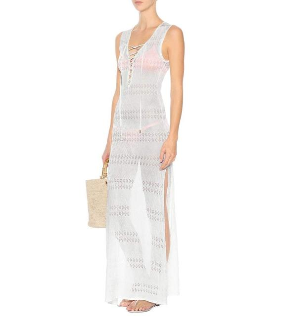 Item - White L Fine Knit Laced Chest Cover Long Casual Maxi Dress Size 14 (L)