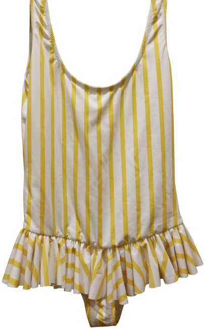 Item - Yellow White XS Striped Ruffled Swimsuit One-piece Bathing Suit Size 2 (XS)