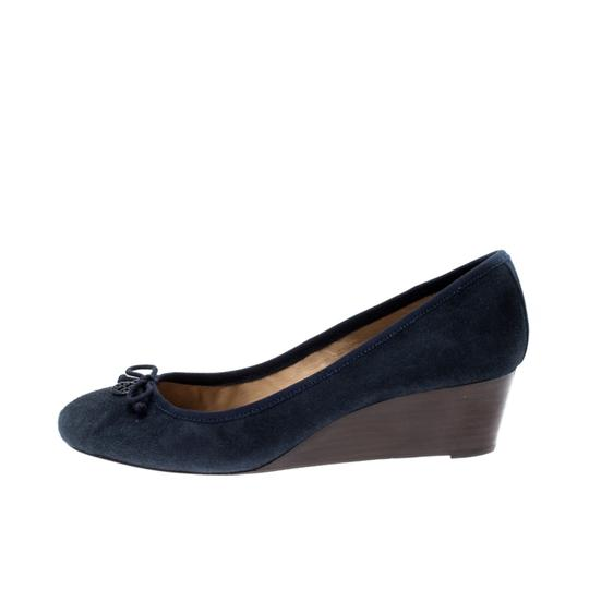 Tory Burch Suede Leather Blue Pumps Image 4