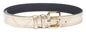 Burberry Gold Metallic Leather Buckle Belt 85CM