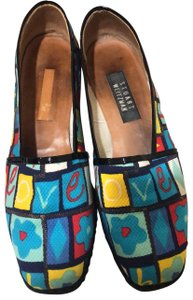"Stuart Weitzman colorful pattern ""love"" Wedges"