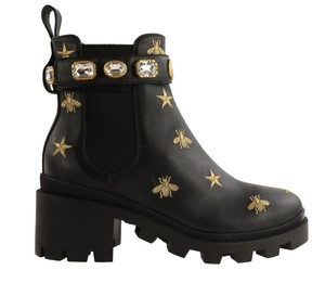 Gucci Ankle Leather Belted Gold Hardware Embroidered Black Boots