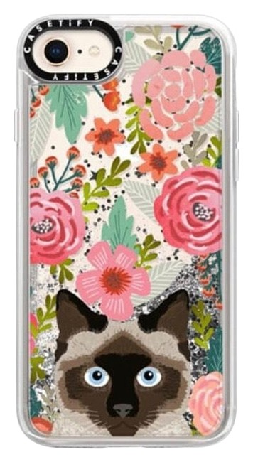 Item - Silver Siamese Cat Floral Case with Liquid Glitter Tech Accessory