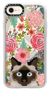 Casetify Siamese Cat Floral Case with Liquid Glitter