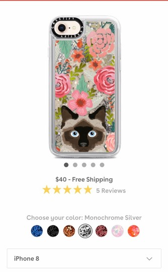 Casetify Siamese Cat Floral Case with Liquid Glitter Image 1
