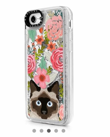 Casetify Siamese Cat Floral Case with Liquid Glitter Image 2