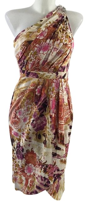 Item - Tan Floral Print One Shoulder Mid-length Short Casual Dress Size 2 (XS)
