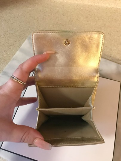 Chanel Rare Metallic Champagne Gold Patent Leather Compact Wallet Image 6