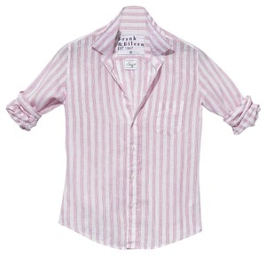 Frank & Eileen Classic Summer Casual Preppy Button Down Shirt Wide Pink Multi Stripe