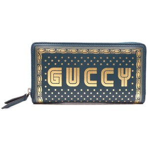Gucci RARE GUCCY Logo Printed Continental leather zippy zip around wallet