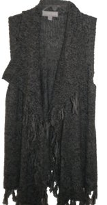 Carolyn Taylor Black/Gray Knit Fringe Sleeveless Tunic Open Front Sweater
