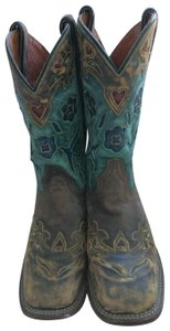 Dan Post Boots BROWN BLUE/GREEN LEATHER Boots