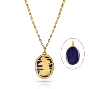 BUCCELLATI Large Gold Virgo Zodiac Sign Pendant On A Chain In Original Box
