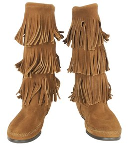 Minnetonka Moccasin Fringe Boho 3-layer Festival Tan Brown Boots