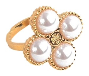 Tory Burch New Tory Burch Rope Clover Ring - Size 8 16k Gold Swarovski Crystal