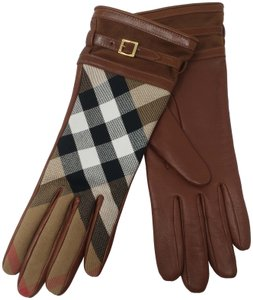 Burberry Brown multicolor leather Burberry Nova Check gloves 6.5 sz