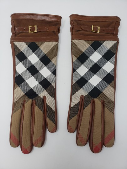 Burberry Brown multicolor leather Burberry Nova Check gloves 6.5 sz Image 1