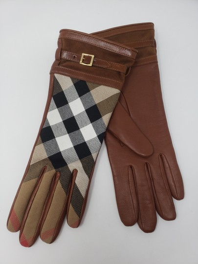 Burberry Brown multicolor leather Burberry Nova Check gloves 6.5 sz Image 2