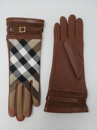 Burberry Brown multicolor leather Burberry Nova Check gloves 6.5 sz Image 3