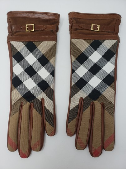 Burberry Brown multicolor leather Burberry Nova Check gloves 6.5 sz Image 4