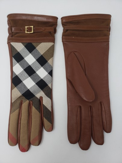 Burberry Brown multicolor leather Burberry Nova Check gloves 6.5 sz Image 5