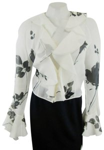 Valentino Floral Ruffles Silk Sheel Top White Black
