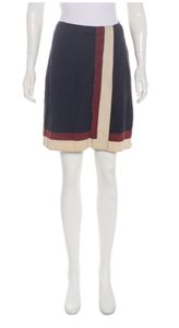 Miu Miu Pleated Cotton Skirt Midnight, creme and burgundy