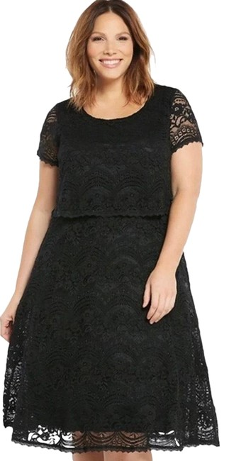 Item - Black Lace Popover Fit & Flare Sleeve Zip Mi Mid-length Short Casual Dress Size 20 (Plus 1x)