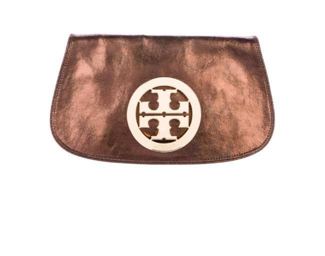 Item - Amanda Metallic Bronze Brown Leather Clutch