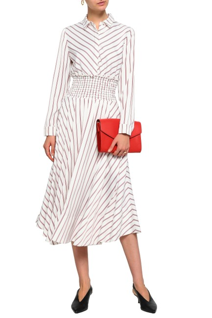 Preload https://img-static.tradesy.com/item/25896307/maje-white-with-red-stripes-smocked-waist-midi-dress-long-workoffice-dress-size-6-s-0-0-650-650.jpg