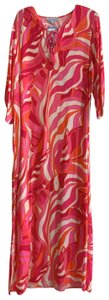Pink, White & Orange Maxi Dress by Escapada Living