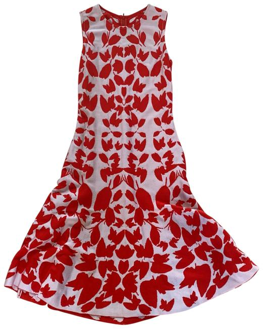 Item - Red and White Midi Like New Wool Nylon Mid-length Formal Dress Size 2 (XS)
