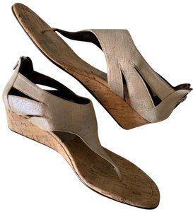 Donald J. Pliner Taupe and Metallic Silver Wedges