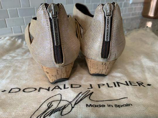 Donald J. Pliner Taupe and Metallic Silver Wedges Image 1