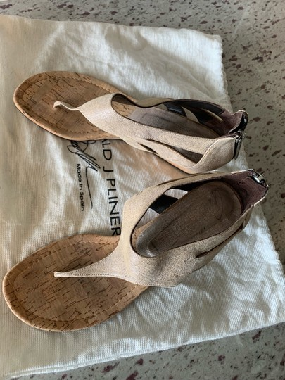 Donald J. Pliner Taupe and Metallic Silver Wedges Image 2