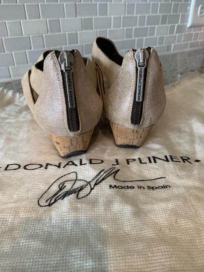 Donald J. Pliner Taupe and Metallic Silver Wedges Image 5
