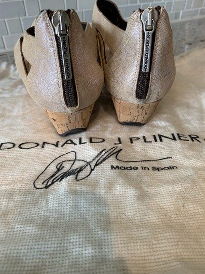 Donald J. Pliner Taupe and Metallic Silver Wedges Image 7