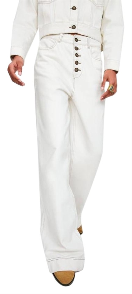 modern and elegant in fashion dependable performance special discount of Zara Ivory New High Waist Contrast Stitch Tortoise Button Fly Trouser/Wide  Leg Jeans Size 29 (6, M)