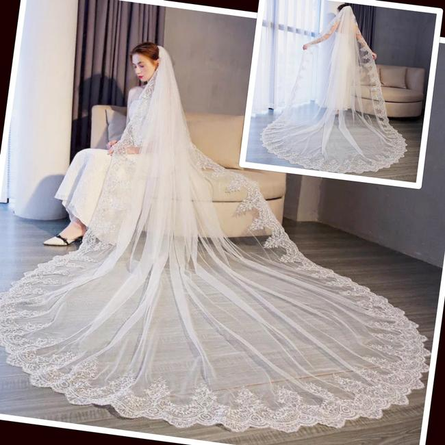 Unbranded Long New White/Ivory 4m/13ft 1t Lace Edge Cathedral Bridal Veil Unbranded Long New White/Ivory 4m/13ft 1t Lace Edge Cathedral Bridal Veil Image 1