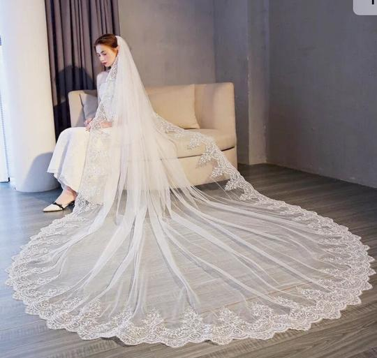 Long New White/Ivory 4m/13ft 1t Lace Edge Cathedral Bridal Veil Image 1