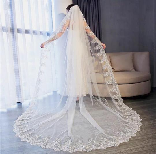 Long New White/Ivory 4m/13ft 1t Lace Edge Cathedral Bridal Veil Image 2