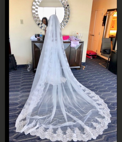 Long New White/Ivory 4m/13ft 1t Lace Edge Cathedral Bridal Veil Image 5