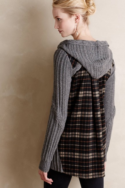 Anthropologie Derry Plaid Fall Winter Moth gray multi Jacket Image 1
