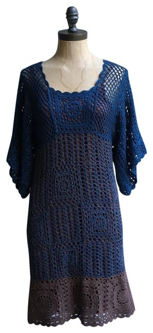 Hazel short dress blue brown Crochet Paople Hand Knitted People Anthropologie on Tradesy Image 0