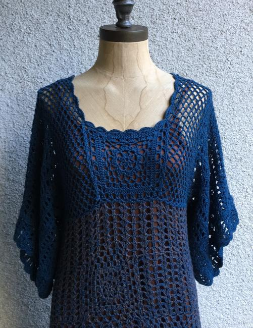 Hazel short dress blue brown Crochet Paople Hand Knitted People Anthropologie on Tradesy Image 1