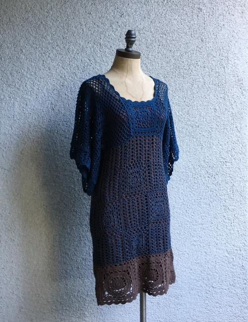 Hazel short dress blue brown Crochet Paople Hand Knitted People Anthropologie on Tradesy Image 3