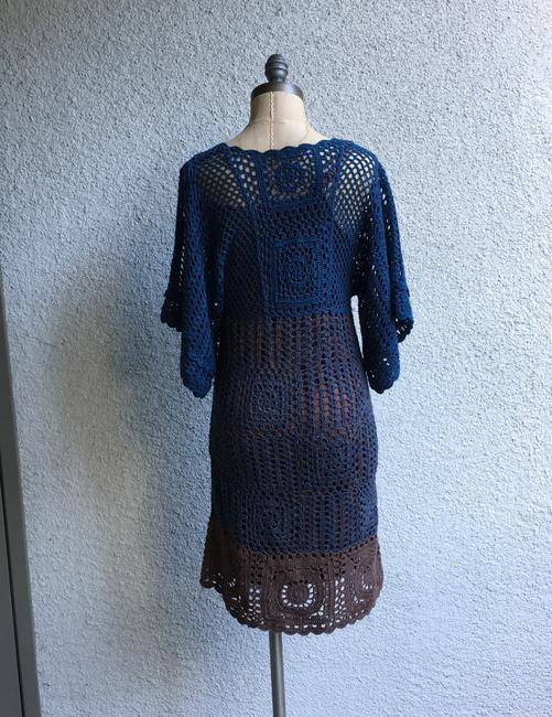 Hazel short dress blue brown Crochet Paople Hand Knitted People Anthropologie on Tradesy Image 4