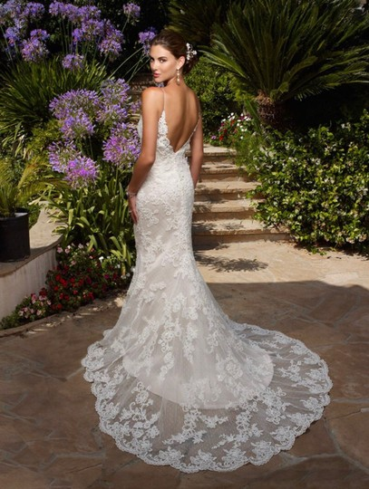 Casablanca White Lace Satin Sexy Wedding Dress Size 6 (S) Image 1