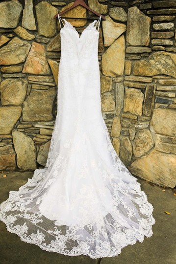 Casablanca White Lace Satin Sexy Wedding Dress Size 6 (S) Image 3