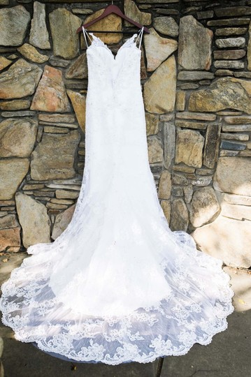 Casablanca White Lace Satin Sexy Wedding Dress Size 6 (S) Image 4